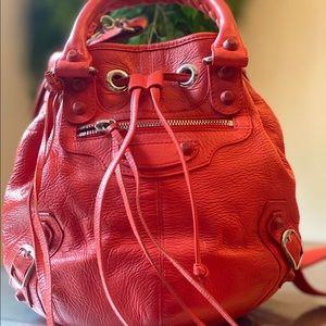 Authentic Balenciaga womens red tote bag